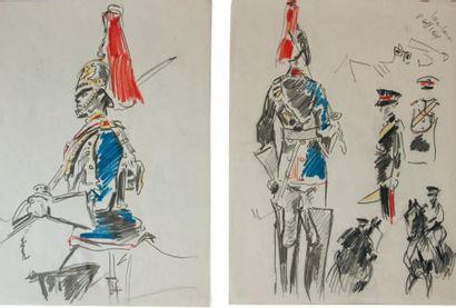 Albert BRENET (1903-2005) « Horse Guard, Highlanders » Cinq études au crayon noir...