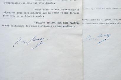 Charles de GAULLE Ensemble de deux lettres dactylographiées signées. Paris et s.l.,...