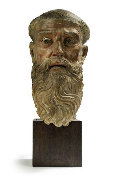 Tête reliquaire Sculpture en terre cuite...