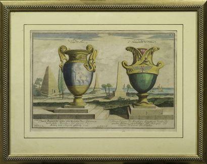 [GRAVURE] Paire de gravures rehaussées représentant deux paire de vases en marbre...
