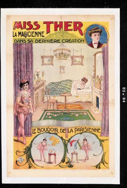 """MISS THER. """"Miss Ther.La Magicienne dans sa dernière création.Le Boudoir de la parisienne"""".Lithographie..."""