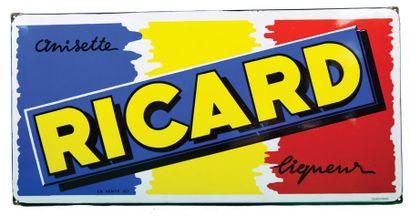 RICARD Plaque émaillée pour l'apéritif Ricard....