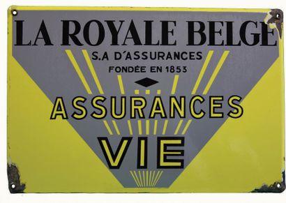 ROYALE BELGE Plaque émaillée pour les assurances...