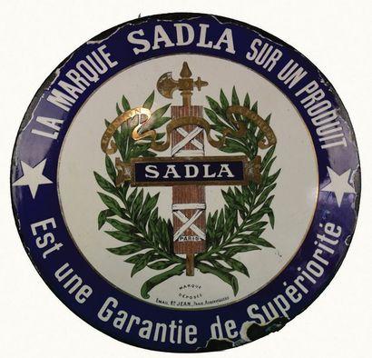 SADLA Plaque émaillée pour la société Sadla,...