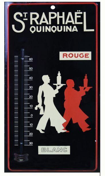 SAINT-RAPHAËL Tôle lithographiée publicitaire-thermomètre...