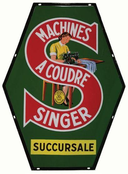 SINGER Plaque émaillée pour les machines...