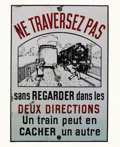 SNCF Panonceau émaillé de passage à niveau...