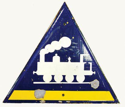SNCF Panneau routier émaillé de passage à...