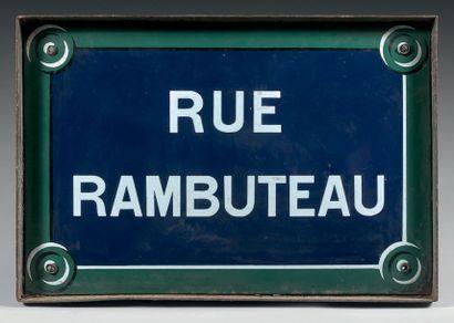 PLAQUE NOMINATIVE DE LA RUE RAMBUTEAU Fer...