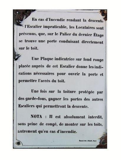PLAQUE DE CONSIGNES AUX LOCATAIRES EN CAS...