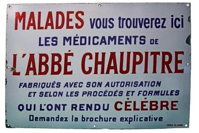 PLAQUE PUBLICITAIRE DES MÉDICAMENTS DE L'ABBÉ...