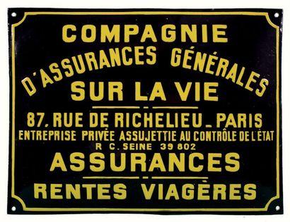 PLAQUE PUBLICITAIRE DE LA COMPAGNIE D'ASSURANCES...