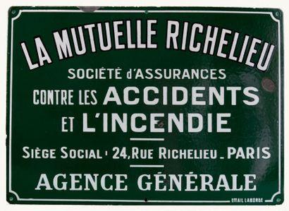 PLAQUE PUBLICITAIRE DE LA MUTUELLE RICHELIEU...