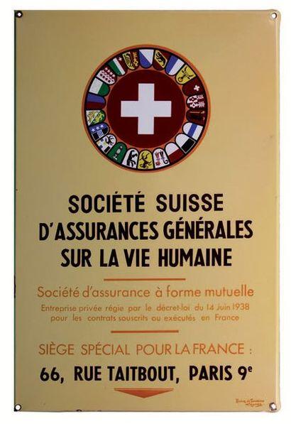 PLAQUE PUBLICITAIRE DE LA SOCIÉTÉ SUISSE...
