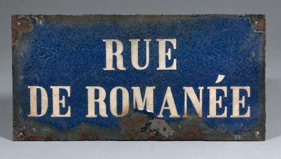 PLAQUE NOMINATIVE DE LA RUE DE ROMANÉE, PARIS...