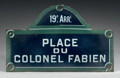 GRANDE PLAQUE NOMINATIVE DE LA PLACE DU COLONEL...
