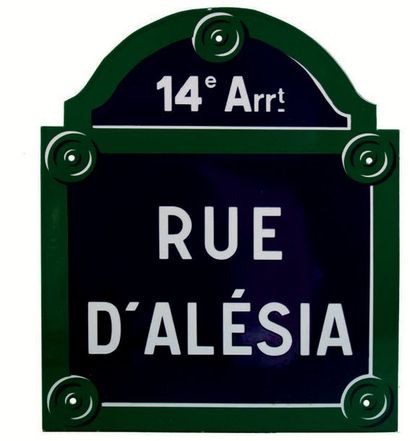 PLAQUE NOMINATIVE DE LA RUE D'ALÉSIA, PARIS...