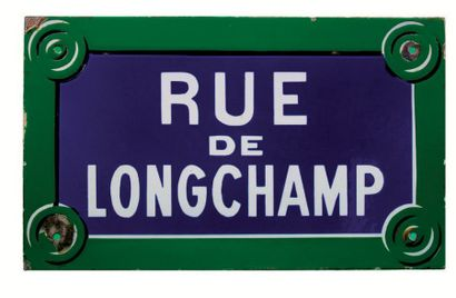 PLAQUE NOMINATIVE DE LA RUE DE LONGCHAMP,...
