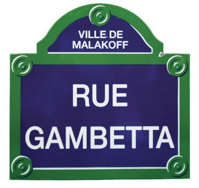 PLAQUE NOMINATIVE DE LA RUE GAMBETTA, MALAKOFF...