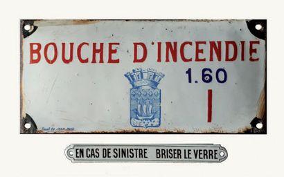 PLAQUE INDICATRICE DE BOUCHE D'INCENDIE Fer...
