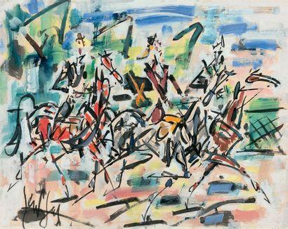GEN PAUL (1895-1975) Cavalcade au Bois de Boulogne Gouache et encre sur papier, signée...