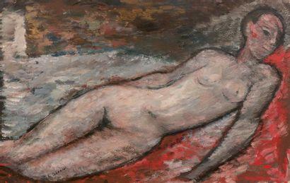 Edouard Joseph GOERG (1893-1969) Nu allongé Gouache, signée en bas vers la gauche....