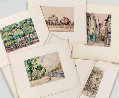 Jeanne Marie BARBEY (1882-1960) Réunion de dessins. Aquarelles, encres, lavis. Place...