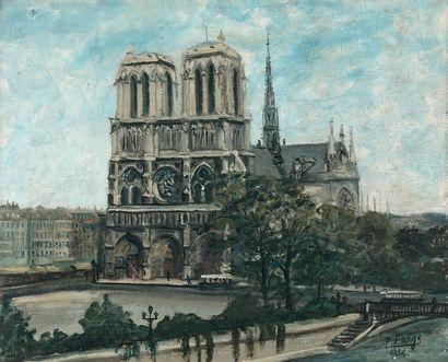 Pierre FARGE (1878-1947) Notre-Dame de Paris, 1934 Huile sur toile, signée et datée...