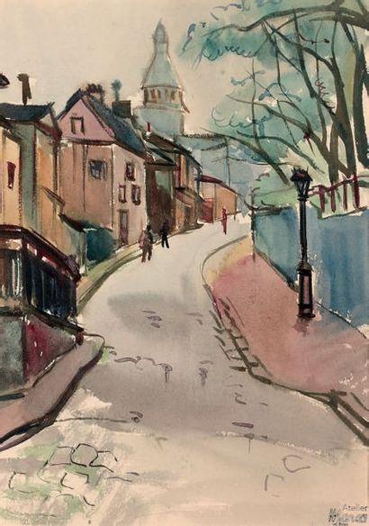RENÉ-EMMANUEL MARCA (1893-1962) Rue Saint-Vincent Aquarelle et encre sur papier,...
