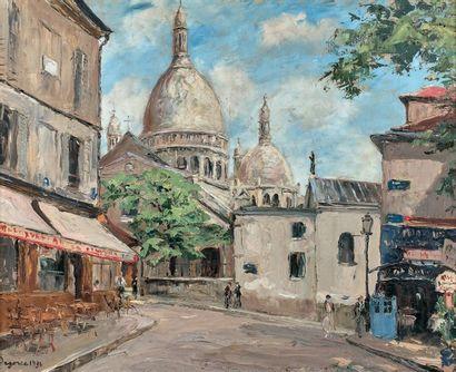 Georges-Léo DEGORCE (1894-1943) Paris, Place du Tertre, 1936 Huile sur toile, signée...