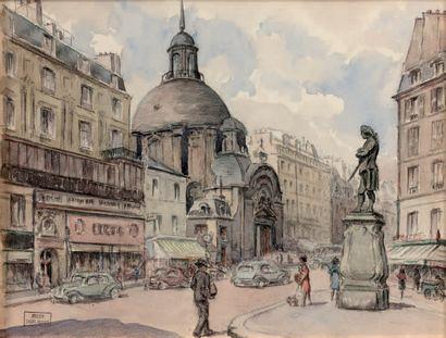 DANIEL ROGIER (1893-1961) L'Oratoire, rue Saint-Antoine animée, 1955 Encre et aquarelle...