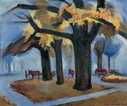 Lilly STEINER (1884-1961) Rond-Point des Champs Élysées, 1948 Huile sur toile, signée...