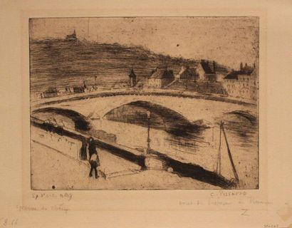Camille PISSARRO (1830-1903) Le Pont de pierre à Rouen. 1887 Eau-forte, pointe sèche...