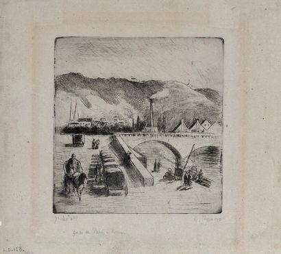 Camille PISSARRO (1830-1903) Quai de Paris à Rouen. 1896 Eau-forte, pointe sèche...