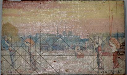 ÉMILE CONTRAULT (1881-1945)  Paris, ouvriers...