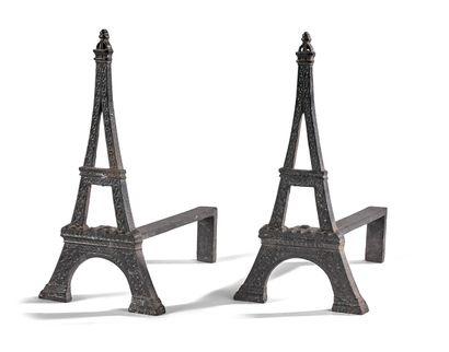 PAIRE DE CHENETS  EXPOSITION UNIVERSELLE,...
