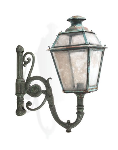 PAIR OF PARISIAN STREET LANTERNS IN SCONCES  Iron painted in green, of splayed form,...