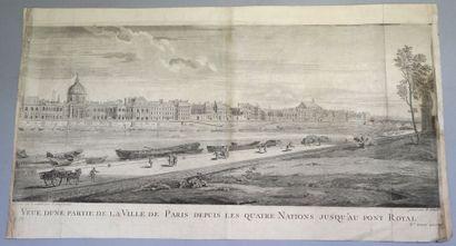 J. CHAUFOURIER (DÉBUT DU XVIIIe SIÈCLE). Vue d'une partie de la Ville de Paris depuis...
