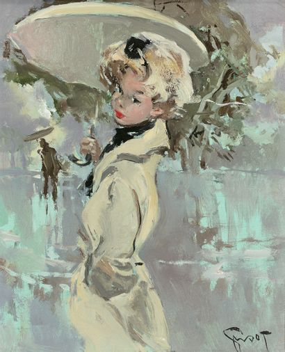 PIERRE GRISOT (1911-1991)  Élégante parisienne...