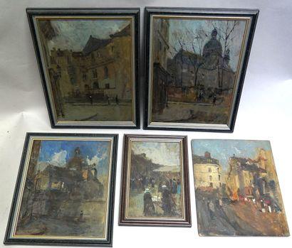 FRANCK EDWIN SCOTT (1863-1929), RÉUNION DE PETITES HUILES  • Scène de rue, Paris...