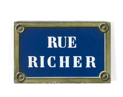 NAMEPLATE OF THE RUE RICHER, PARIS  Enamelled...