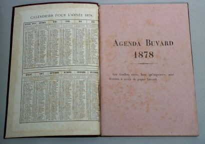 AGENDA BLOTTER DU BON MARCHÉ  Year 1878, cloth cover, with numerous engravings on...