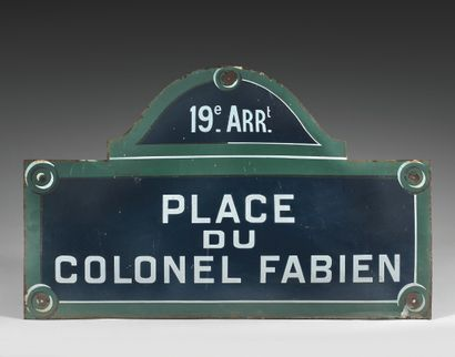LARGE NAMEPLATE OF THE PLACE DU COLONEL FABIEN,...
