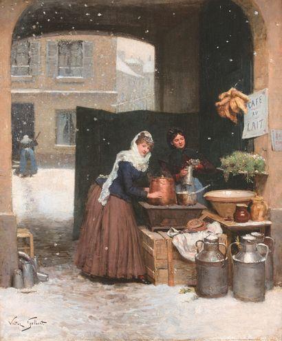VICTOR GABRIEL GILBERT (1847-1935)  Paris under the snow, the café au lait  Oil...