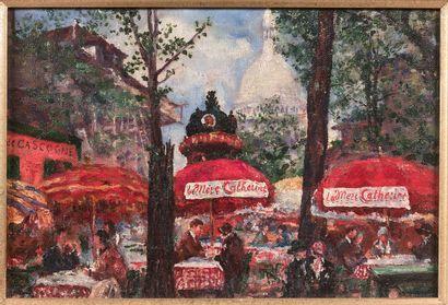 ANTOINE FERRACCI (1890-1984)  Place du Tertre  Deux huiles sur toiles en pendants,...