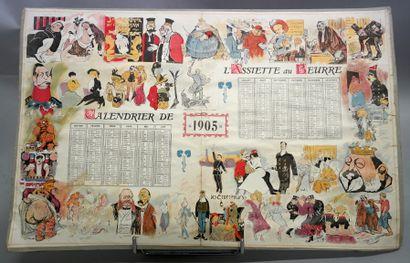 "L'assiette au beurre ""杂志的日历  纸质,长方形,装饰有说明巴黎生活的幽默雕版画。  1905年。  30,5 x 47 厘米。  粘在..."