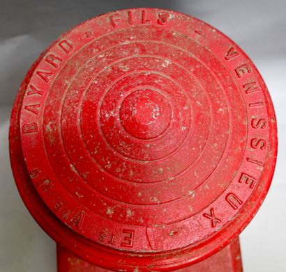 FRONT OF A FIRE STATION  Cast iron, painted red, rectangular in shape  shape, surmounted...
