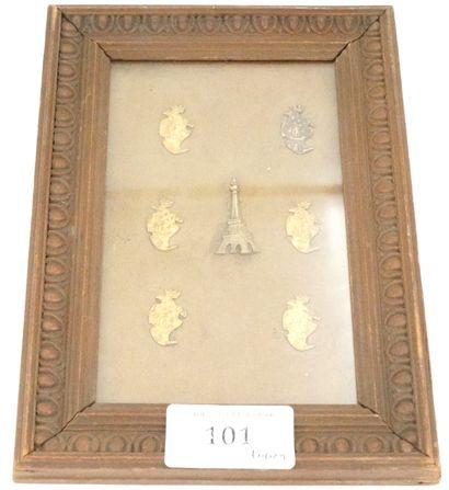 会议的小装饰元素切出。  镀金的铁。六个元素显示巴黎的纹章,一个元素  埃菲尔铁塔。...