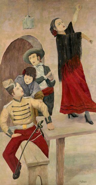 """LOUIS FAISJIERS (XXe SIÈCLE)  DÉCOR INTÉRIEUR DU """"BISTROT DE L'OPÉRA CARMEN""""  Danseuse..."""