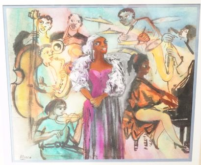 RENÉ EMMANUEL MARCA (1893-1962)  Orchestre de Jazz  Deux dessin à l'aquarelle et...